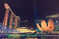 De nachtmening van Singapore Stock Fotografie
