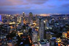 De nachtmening van Thailand van de stad van Bangkok Stock Fotografie