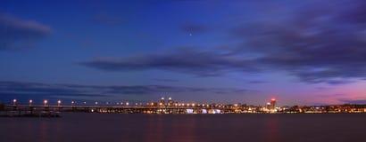 De nachtpanorama van dnepropetrovsk Stock Fotografie