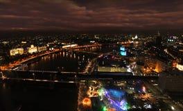 De nachtpanorama van Londen Theems Stock Afbeelding