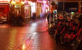 De nachtscène van Amsterdam royalty-vrije stock afbeeldingen