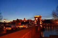 De nachtscène van Boedapest stock afbeelding
