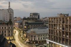 De nachtscène van Boekarest Stock Foto