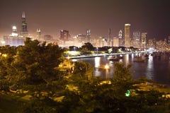 De nachtscène van Chicago Royalty-vrije Stock Foto's