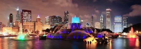 De nachtscène van Chicago Stock Foto