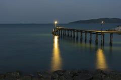 De nachtscène van de havenbrug Stock Afbeelding