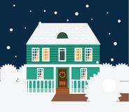 De nachtscène van de onroerende goederenwinter Huis, plattelandshuisje, huis in de stad, zoete huis vectorillustratie royalty-vrije illustratie