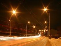 De nachtscène van de winter Royalty-vrije Stock Foto's