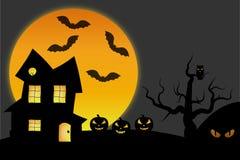De nachtscène van Halloween Stock Afbeeldingen