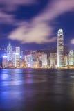 De nachtscène van HK bij de haven van Victoria Royalty-vrije Stock Afbeelding