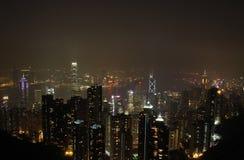 De nachtscène van Hongkong Stock Foto's