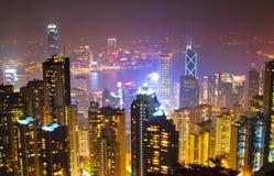 De nachtscène van Hongkong van piek 4 stock foto's