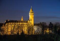 De nachtscène van Luxemburg stock afbeeldingen