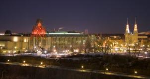 De nachtscène van Ottawa Stock Afbeeldingen