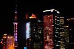 De Nachtscène van Shanghai Lujiazui Stock Afbeeldingen