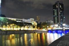 De nachtscène van Singapore Royalty-vrije Stock Foto's