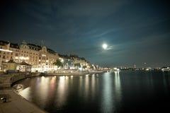 De nachtscène van Stockholm Stock Afbeelding
