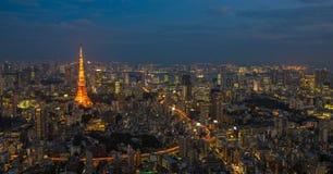 De nachtscène van Tokyo, panorama Stock Fotografie