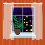 De nachtstad in het venster royalty-vrije stock fotografie