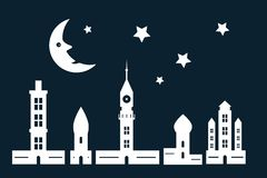 De nachtstad met Document sneed Torens en Gebouwen vector illustratie