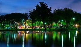De nachtstad van het park met bezinning Stock Foto