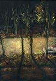 De nachtstraat van de herfst, mening van het venster Stock Foto's