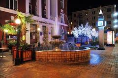 De nachtverlichting van de fontein in Krasnoyarsk, Rusland Stock Afbeeldingen