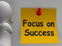De nadruk op Succesnota toont het Bereiken Doelstellingen Royalty-vrije Stock Afbeeldingen