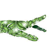 De nadruk van de bladhand op groen op witte achtergrond Royalty-vrije Stock Foto