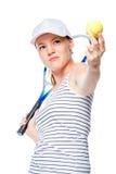 De nadruk van de tennisspeler op de bal, portret op een wit Stock Afbeeldingen