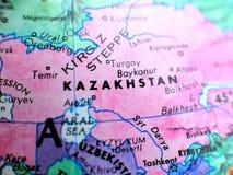 De de nadrukmacro van Kazachstan schoot op bolkaart voor reisbloggen, sociale media, websitebanners en achtergronden royalty-vrije stock afbeeldingen