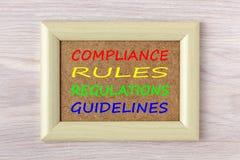 De naleving beslist Verordeningen Richtlijnenconcept royalty-vrije stock fotografie