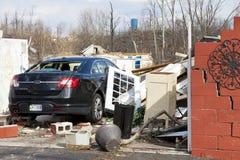 De nasleep van de tornado in Henryville, Indiana Stock Foto's