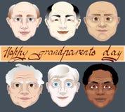 De nationale Dag van Grootouders Een reeks grootvaders ziet verschillende huidkleuren onder ogen vectorillustratie op grijze acht vector illustratie