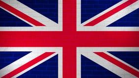 De nationale die vlag van het Verenigd Koninkrijk op bakstenen muur wordt geschilderd De achtergrond van de de muurtextuur van de royalty-vrije illustratie