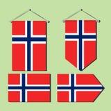 De nationale die vlag van Noorwegen voor muurdecoratie wordt ontworpen stock illustratie