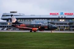 De Nationale Luchthaven van Minsk, Minsk, Wit-Rusland - September 06, 2017: Boe Royalty-vrije Stock Afbeeldingen