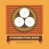 De nationale schotels van China, Gestoomde varkensvleesbroodjes - Vector vlak ontwerp Royalty-vrije Stock Fotografie