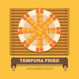 De nationale schotels van Japan, Gebraden Tempura - Vector vlak ontwerp Royalty-vrije Stock Fotografie