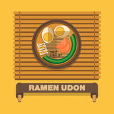 De nationale schotels van Japan, Ramen Udon - Vector vlak ontwerp Stock Foto