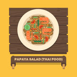 De nationale schotels van Thailand, Thaise papajasalade (SOM TUM) - Vectorf Stock Foto