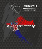 De nationale vectorkaart van Kroatië met de vlag van het schetskrijt De getrokken illustratie van het schetskrijt hand royalty-vrije illustratie