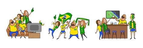 De nationale verdedigers die van het voetbalteam, in de bar samen thuis toejuichen Reeks voetbalventilators met nationale attribu royalty-vrije illustratie