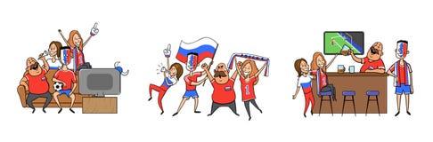 De nationale verdedigers die van het voetbalteam, in de bar samen thuis toejuichen Reeks voetbalventilators met nationale attribu stock illustratie