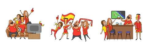 De nationale verdedigers die van het voetbalteam, in de bar samen thuis toejuichen Reeks voetbalventilators met nationale attribu vector illustratie