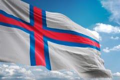 De nationale vlag die van de Faeröer blauwe hemel realistische 3d illustratie golven als achtergrond vector illustratie