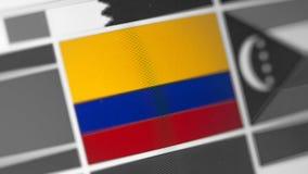 De nationale vlag van Colombia van land De vlag van Colombia op de vertoning, een digitaal moiréeffect stock foto