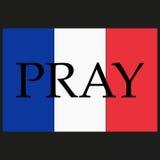 De nationale vlag van Frankrijk De uitdrukking bidt geschreven Stock Afbeeldingen