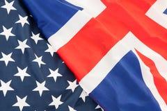 De nationale vlag van het Verenigd Koninkrijk (het UK) en Verenigde Staten o Royalty-vrije Stock Afbeeldingen