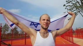 De Nationale Vlag van de jonge Mensenholding van Israël stock videobeelden